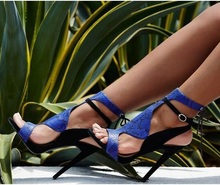 New Arrival Summer Newest Arrival Blue Black Snakeskin Patchwork High Heel Sandal Slingback Lace Up Cut-Out Open Toe Ankle Boots 2017 new arrival lace up sandal boots open toe ankle booties peep toe woman dress shoes blue suede leather high heel boots