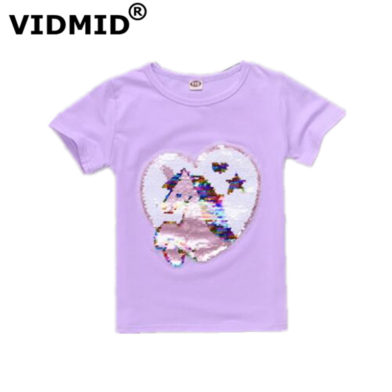 VIDMID T-Shirt Sequins Clothing Tees Tops Short-Sleeve Baby-Boys-Girls Kids Cotton Children's