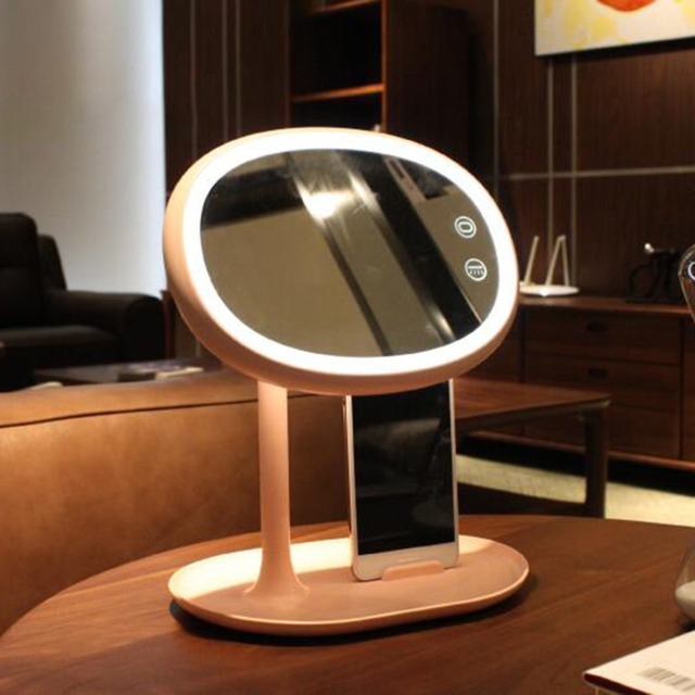 Led Makeup Light Mirror Cosmetic Table Lamp Usb Touch Switch Bedroom Lamps Adjule Phone Holder Bracket Valentine S Day Gift
