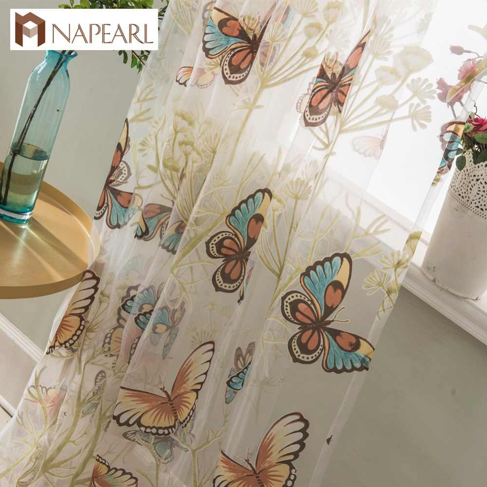 Butterfly tulle curtains modern sheer organza cartoon girl bedroom kid living room rustic window treatment kitchen short curtain