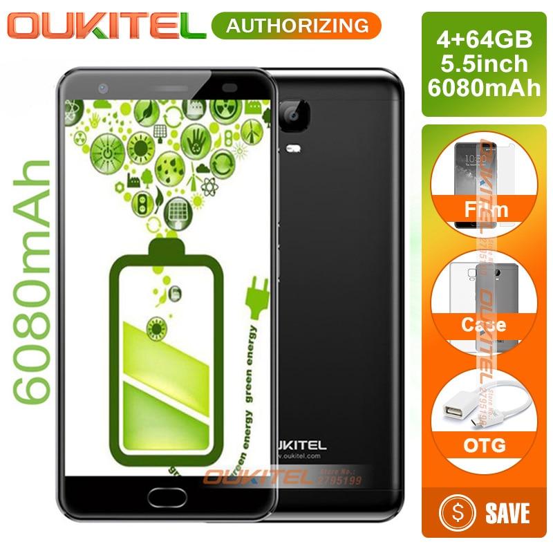 Oukitel K6000 Plus 5,5 FHD MTK6750T Octa Core 4G teléfono móvil Android 7,0 4 GB + 64 GB 16MP Cam 6080 mAh carga rápida huella dactilar ID