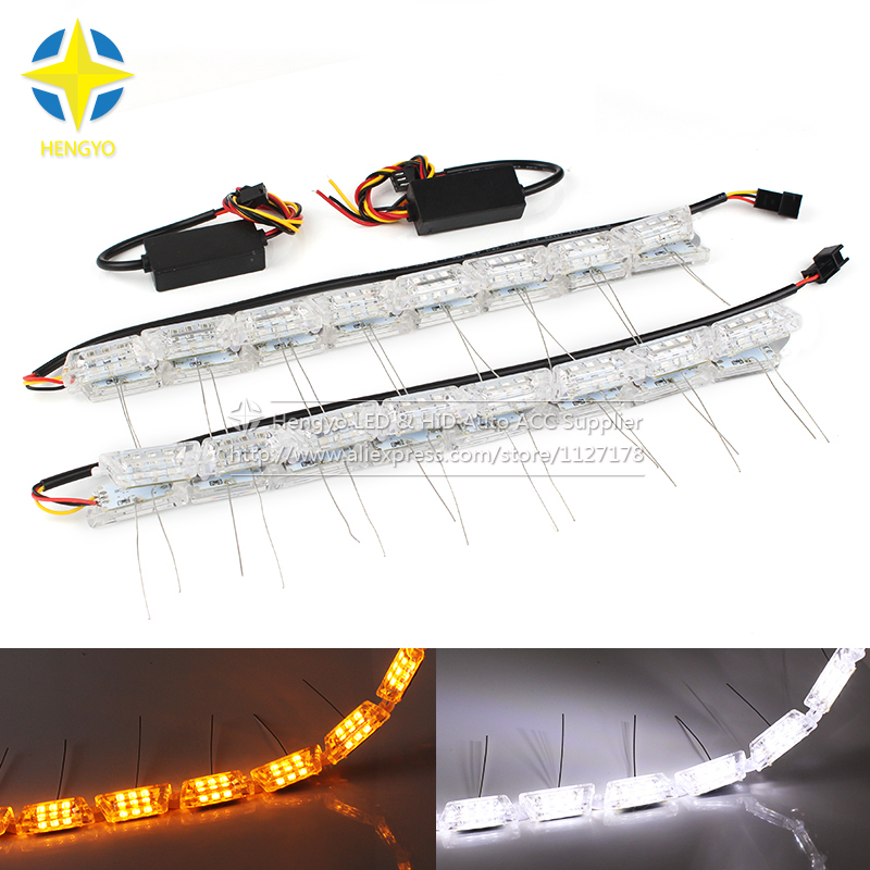 Universal DRL 3014 Chips Car Daytime Running Lights DRL Lamp Headlight Flexible Strip Light Angel Tear Eye Turn Switchback Lamp 2pcs 12v car drl led daytime running light flexible tube strip style tear strip car led bar headlight turn signal light parking