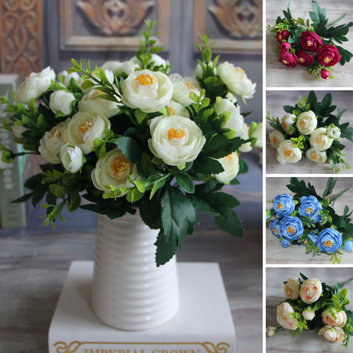 New Multi Color Realistic 6 Branches Spring Artificial Fake Peony ...