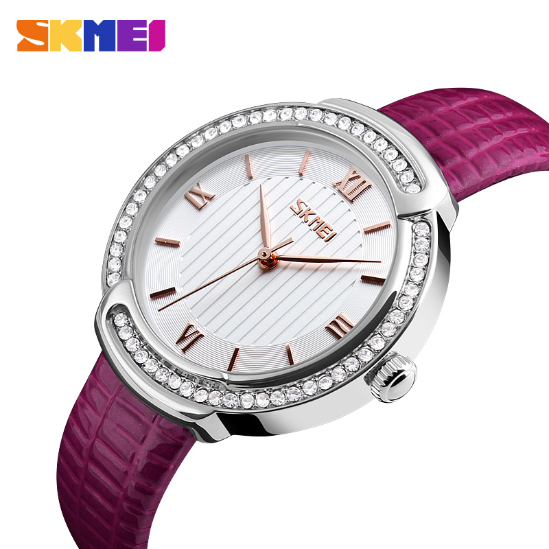 SKMEI Brand Women Quartz Wristwatches Fashion Dress Watch Waterproof Genuine Leather Band Case Ultra thin Ladies Watches 9143