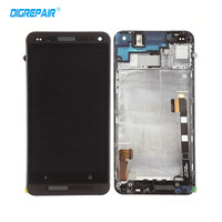 Black Silver For HTC One M7 LCD Display Touch Screen Digiziter Bezel Frame Assembly Replacements Free