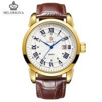 ORKINA Men S Fashion Sport Date Quartz Wristwatch Leather Black Brwon Watchband Strap Watch For Gift