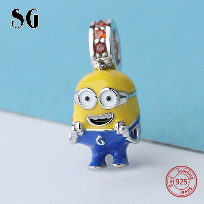 100% sterling silver lovely Minions beads dangle with colorful enamel&CZ Fit original pandora charms Bracelet Jewelry for Gifts