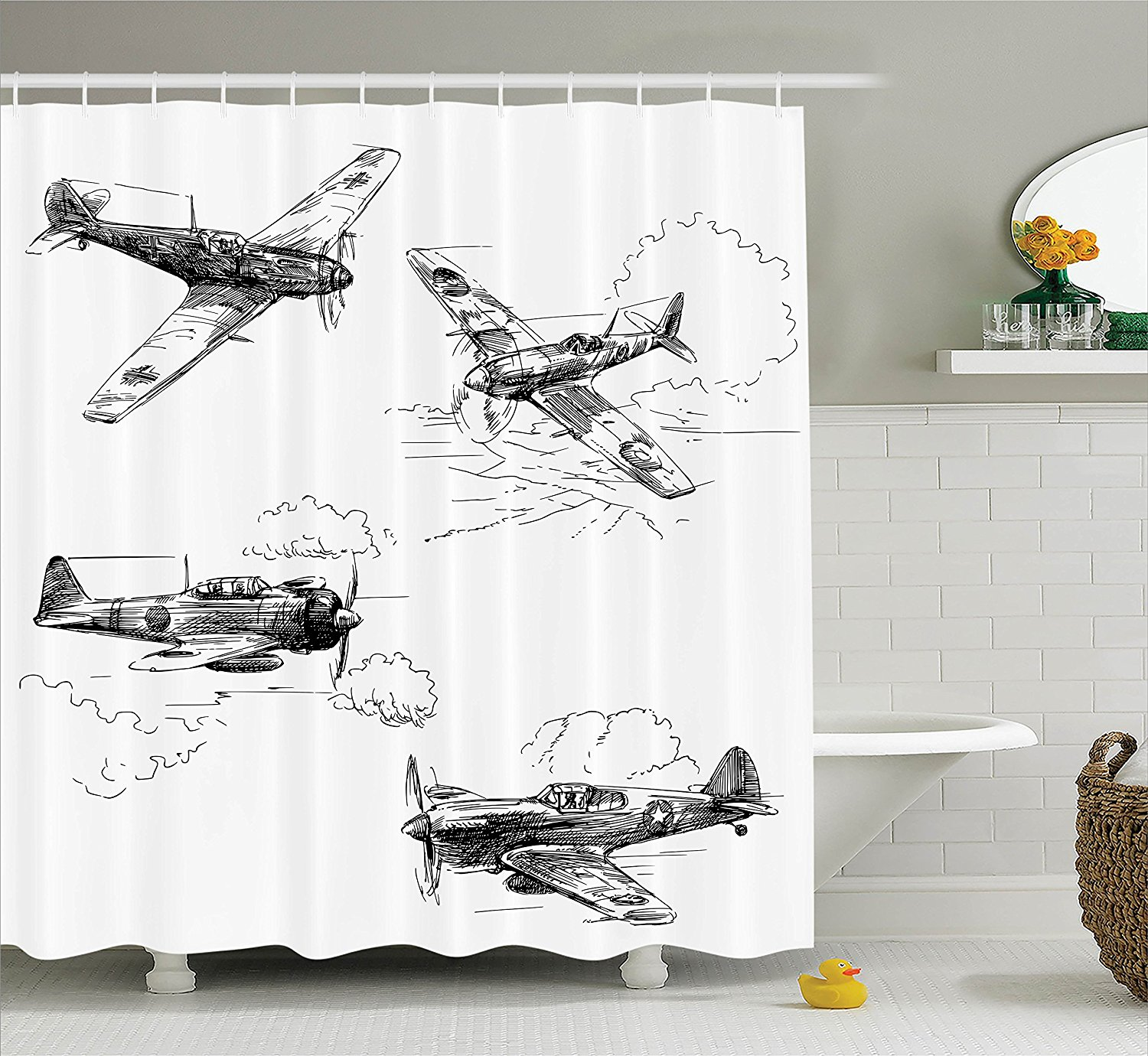 Airplane Decor Collection World War Aircraft Army German Pilot Veteran Aggression Historic Vehicle Pict Polyester Bathroom