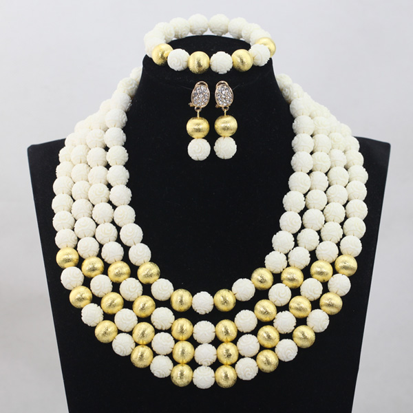 Fabulous 4 Layers White Beaded African Fashion Jewelry Sets Gold Jewelry Accessories Coral Necklace Set Free Shipping CNR709