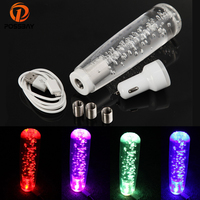 POSSBAY Universal 150mm Gear Shift Knob Car LED Light Changing Shifter Lever Knob Crystal Bubble Manual Transmission