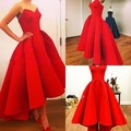 Vestidos New Sweetheart Puffy Satin Red Hi Low Summer Myriam Fares Party Celebrity Dresses Hot 2015 Gorgeous Dress