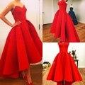 Vestidos querida Puffy cetim vermelho de alta Vestidos festa de celebridades Myriam Fares lindo vestido de verão