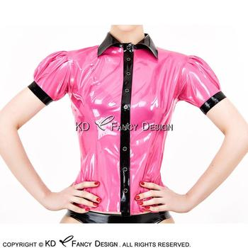 Rose Red With Black Sexy Latex Shirt With Buttons At Front Puff Short Sleeves Rubber Blouse Top Clothing YF-0119