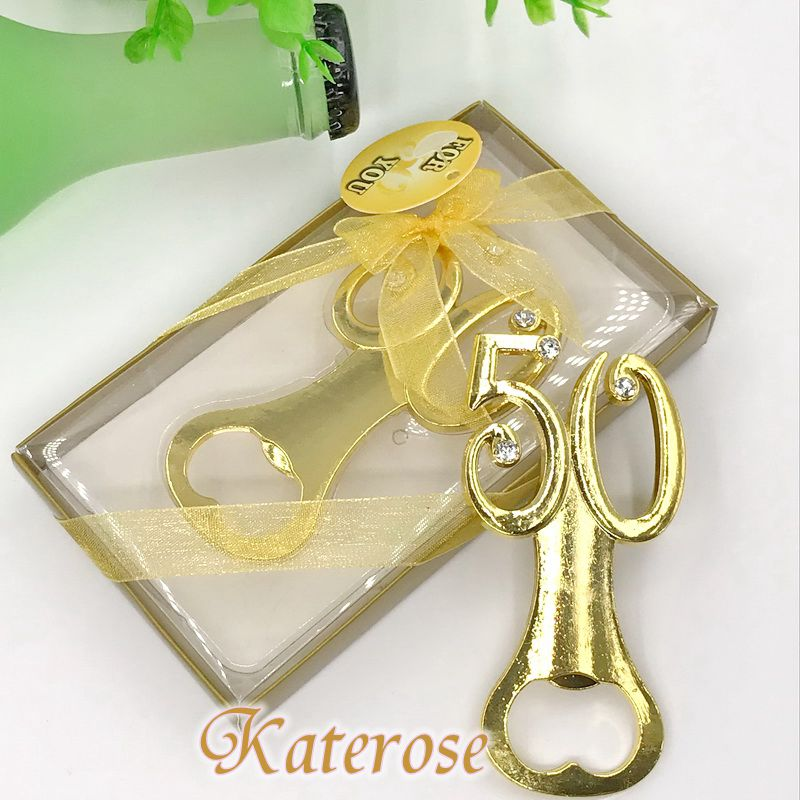 FREE SHIPPING 100pcs lot Golden Wedding Souvenirs Digital 50 Bottle Opener 50th Birthday Anniversary Gift For