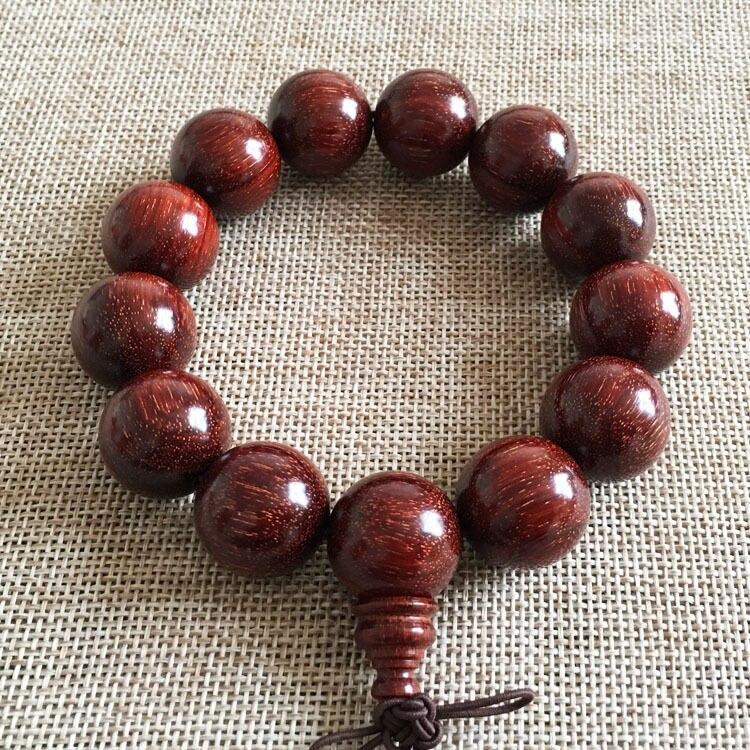 цена на Free shipping 18mm Natural Chicken Blood Red Sandalwood Prayer Beads Beaded Bracelet A85