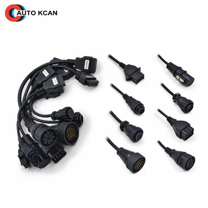 5pcs Full set 8 pcs truck cables obd2 diagnostic OBD OBDII OBD 2 connecter for tcs
