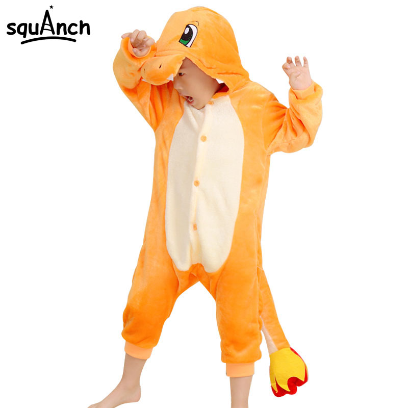 Charmander Cartoon Onesie Kids Animal Charizard Dragon Party Pajamas Boys Girls Winter Sleepwear Warm Flannel Long Sleeve Suit