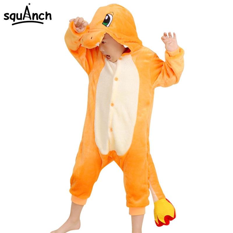 Charmander Cartoon Onesie Kids Animal Charizard Dragon Party Pajamas Boys Girls Winter Sleepwear Warm Flannel Long Sleeve Suit