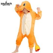 Pokemon Cartoon Onesie For Kids Animal Charizard Dragon Party Pajamas Boys Girls Winter Sleepwear Warm Flannel