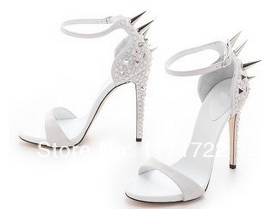 High quality factory price silver crystal high heel sandals spikes ...