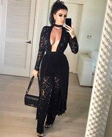 Women Autumn Dress 2016 New Arrival Lace Patchwork Black Lace Cardigan And Lace Pants Set Sexy