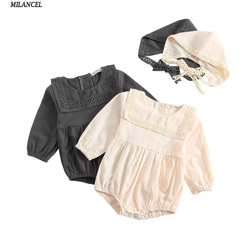 MILANCEL 2018 New Baby Boys Clothes Baby Body Cotton Baby Girls Bodysuits with Hat Long Sleeve Baby Clothing Cute Bodysuits baby bodysuits girls clothes boys 2018 fashion cute animal bear one pieces body wool hooded newborn baby clothing sets bo047