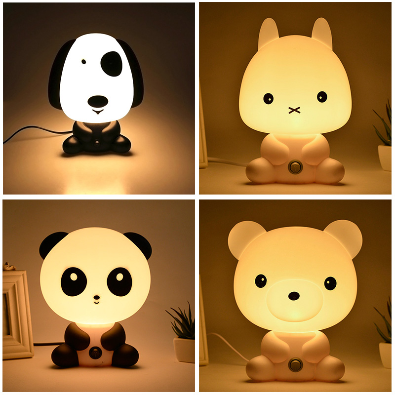EU Plug Night Lovely Sleeping Lamp Baby Room Panda/Rabbit/Dog/Bear Cartoon Light Kids Bed Lamp for Gifts CLH