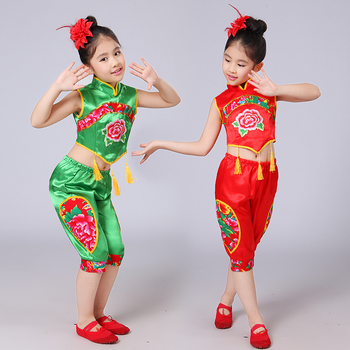 737e3f9db54f5 Trajes de baile nacional para niños niñas danza Yangge chino bebé Han  pañuelo actuación ropa escenario