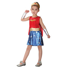 Child Kids Super Hero Wonder Girl Costume for Girls Halloween Carnival New Year Party Fancy Dress