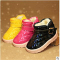 Child snow boots baby shoes winter thickening warm cotton-padded shoes slip-resistant waterproof male shoes girls bright color