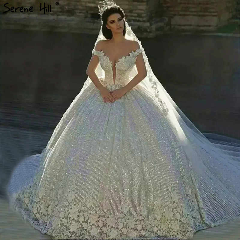 Dubai Design White Luxury Vintage Wedding Dresses 2019 Off Shoulder Handmade Flowers Bridal Gown Real Photo HA2195