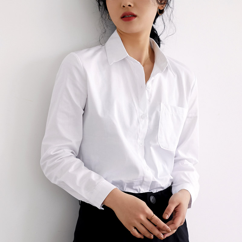 BGTEEVER All-match Turn-down Collar White Women   Blouses   Tops Loose One Pocket   Blouse     Shirt   Female Casual   Shirts   blusas 2019