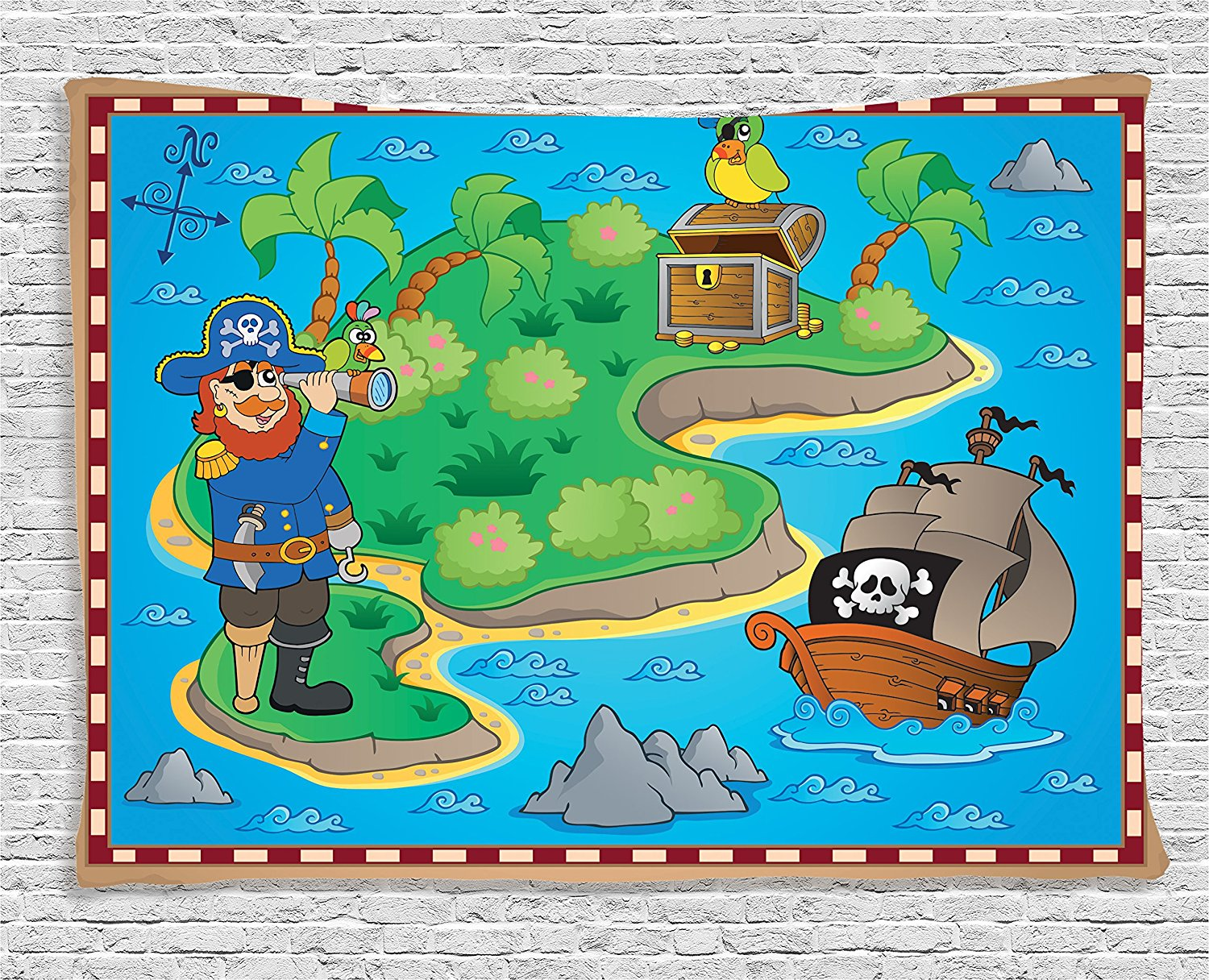 Island Map Decor Funny Cartoon Of Treasure Island With A