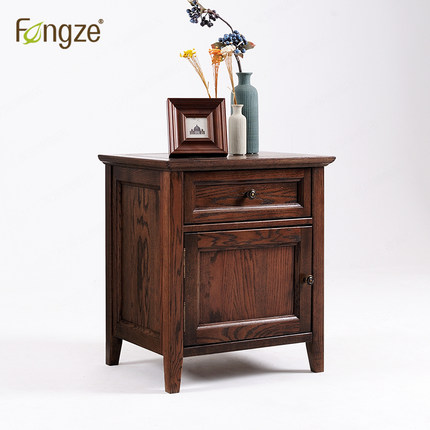 FengZe furnishing FZ115 wooden nightstand simple country style bedroom mini storage small bedside cabinet solid wood in oak antique vintage wood bedside cabinet straw small cabinet drawer storage cabinets lockers simple paulownia wood