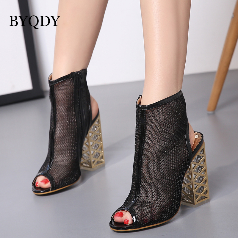 BYQDY Black Sexy Gladiator Sandals Peep Toe Zip Shoes Golden Bling Crystal With Hollow Out Heel Sandals Ladies Shoes Size 34 40