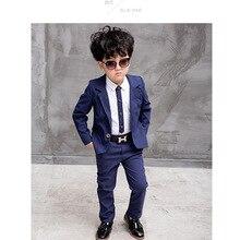 Официальный костюм для больших мальчиков, вечерние костюмы из 3 предметов для детей, костюм для мальчиков на свадьбу, хлопковый однотонный Блейзер, детские костюмы, куртка+ штаны+ рубашка