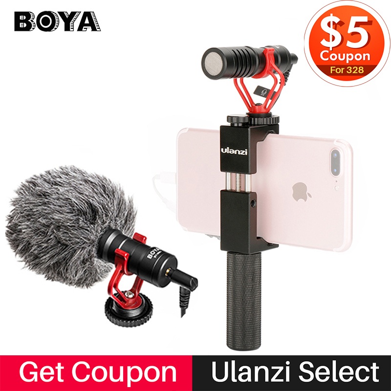 Boya BY-MM1 Compact Camera Microphone w Phone Handle Grip Video Rig,Smartphone Mic for iPhone/Canon Nikon DSLRCamera/Smooth Q u grip video action stabilizing handle grip rig set with by mm1 videomicro phone led on camera light for iphone canon nikon