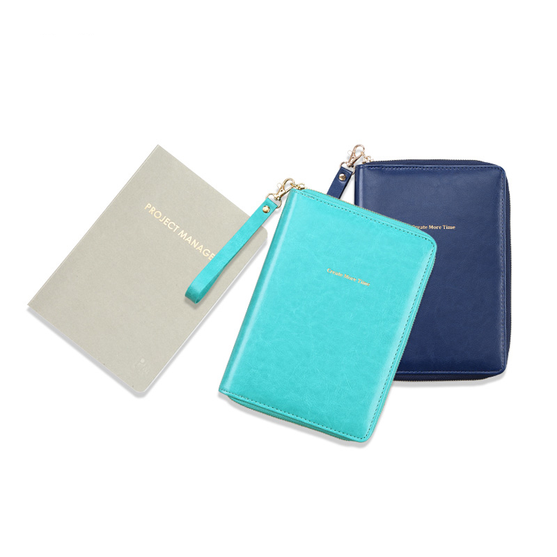 A5 Work Book Meeting Notebook Record Book Planner Stationery Thickening Multifunctional Inner Pages Zipper Design Diary Agenda