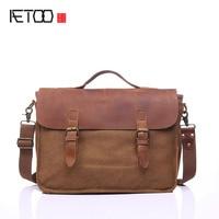 AETOO Avrupa ve Amerikan vintage retro çanta taşınabilir evrak çantası bilgisayar omuz çapraz çanta deri çanta ile M