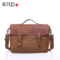 AETOO European and American vintage retro bags portable briefcase computer shoulder diagonal bag with leather bag M