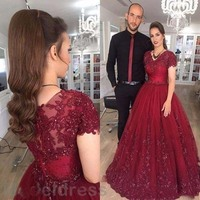 2017 New Burgundy Prom Dresses V Neck Lace Appliques Cap Sleeve A Line Long Arabic Evening