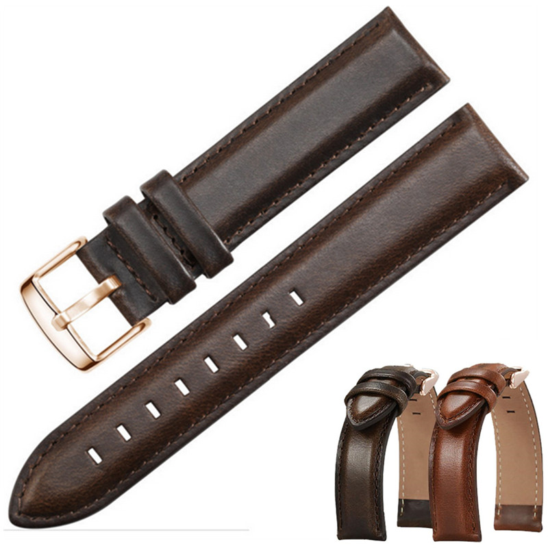 Imported Genuine Leather Handmade Watchband 18mm 20mm 22mm for DW Diesel Fossil Timex Watch Band Wrist Strap Belt Band