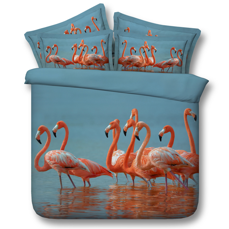 Flamingo Birds 3D Printed Comforter Bedding Twin Full Queen Super Cal King Size Bed Sheets Duvet Covers Sets Adults Home Blue