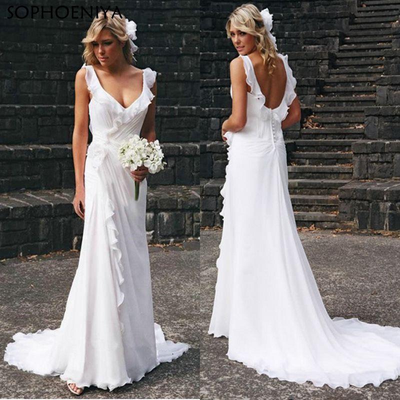 Robe de mariée Vestido de novia 2019 robe de mariée d'été en mousseline de soie pas cher ligne a robe de mariée plage blanc ivoire échantillon
