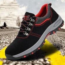 Мужская Повседневная дышащая рабочая обувь со стальным носком, защитная обувь, защищающая от пирсинга, рабочая обувь, большой размер 46