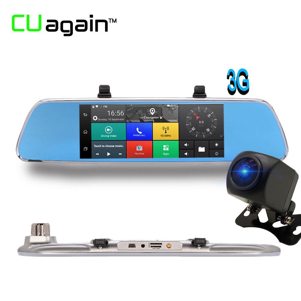 CUagain CU200 7 Inch Car GPS Navigation Android Night Vision Camera Car DVR Wifi 3G 1080P Dual Dash Camera Mirror Video Recorder