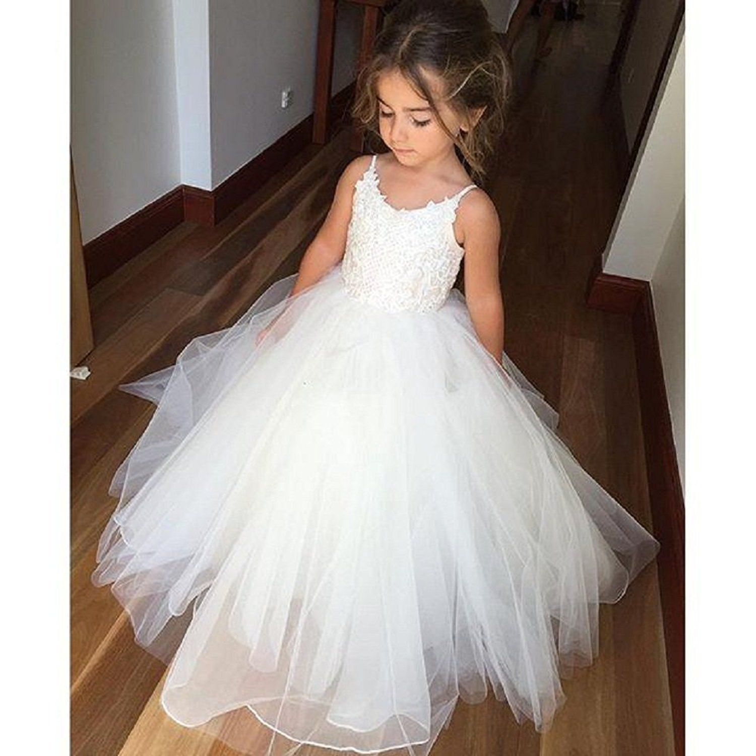 Puffy   Flower     Girls     Dresses   A-line Lace Tulle Formal Kids Wear For Wedding Floor Length Junior   Girl   Vestidos