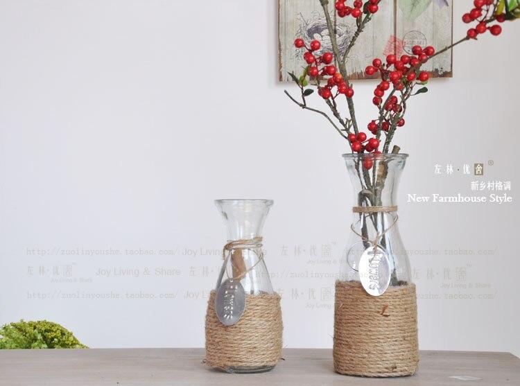 Home Vase Decoration Hemp Rope Glass Vase Hydroponic Glass Flower Pot Flowers Vase In Vases From
