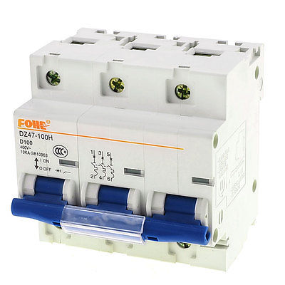3.5cm DIN Rail Mounted DZ47-100H D100 AC 400V 4 Pole Circuit Breaker 3 5cm din rail mounted dz47 100h d100 ac 400v 4 pole circuit breaker