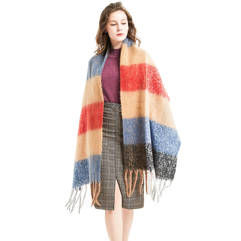 LARRIVED 2019 New Winter Thicken Women Knitted Striped Coat Luxury Ladies Autumn colorized Tassels Capes and Ponchos